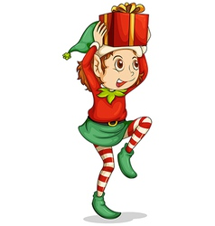 An elf with a gift above his head vector