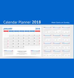 2018 calendar print template week starts sunday vector image vector image
