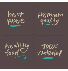 Price premium healthy natural food labels vector