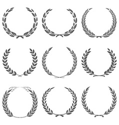 Award wreaths laurel on black background vector