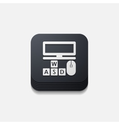 Square button computer vector