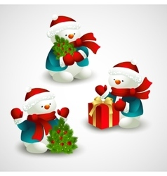 Christmas with snowman vector