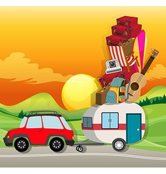 Roadtrip with car loaded with luggages vector
