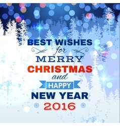 Christmas card with blue lights vector