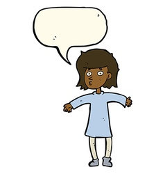 Cartoon nervous woman with speech bubble vector
