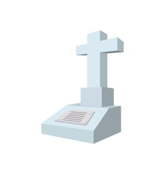 Cross tombstone cartoon icon vector