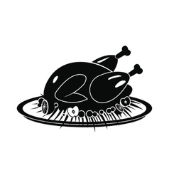 Roasted turkey icon vector