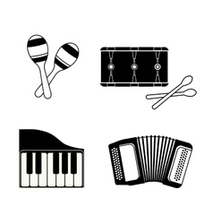 Accordion maraca piano and drum icon music vector