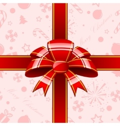 Red bow with ribbons background vector