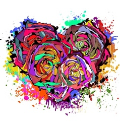 Abstract colorful heart of roses vector image vector image