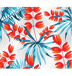 Abstract pattern with palm leaves and rose vector