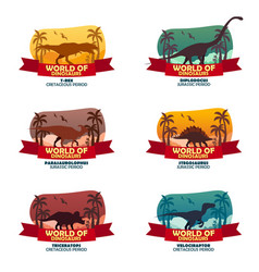 big collection world of dinosaurs prehistoric vector image