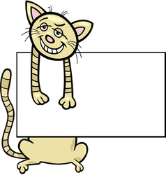 cartoon cat with board or card vector image