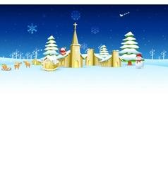 Church in christmas night vector
