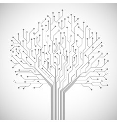 Circuit board tree symbol poster vector