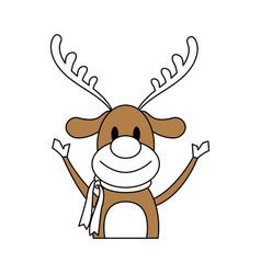 Color silhouette image cartoon half body reindeer vector