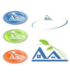 Cottage or camping emblem vector