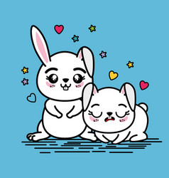 Cute and lovely bunnies animal vector