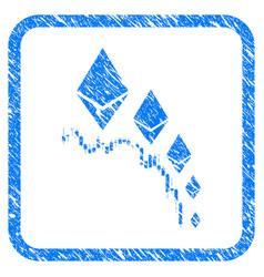 Ethereum deflation chart framed stamp vector