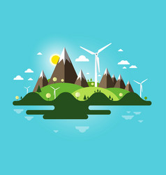 flat design landscape abstract nature scene vector image