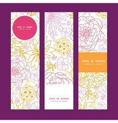 Flowers outlined vertical banners set vector