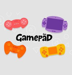 gamepad console controllers icon set vector image vector image