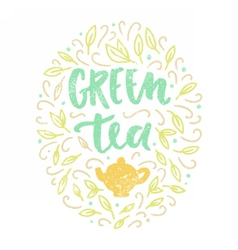 Green tea lettering and doodles vector