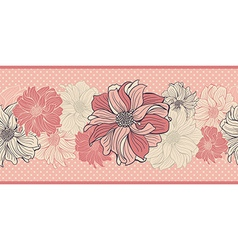 Hand-drawn flowers of dahlia Seamless border vector image vector image