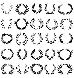 leaf wreath 15 black vector image vector image