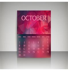 Polygonal 2016 calendar design for OCTOBER vector image