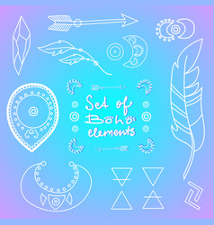 Set of boho style elements vector
