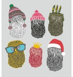 Set of cute owls in costumes vector image