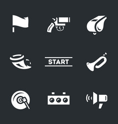 Set of start signal icons vector