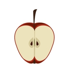 Silhouette color with half an apple vector