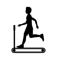 silhouette with man in treadmill vector image