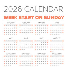simple 2026 year calendar vector image vector image