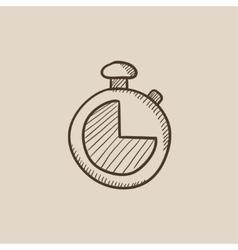 Stopwatch sketch icon vector image vector image