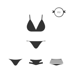 Swimsuit simple icons set isolated on white vector image