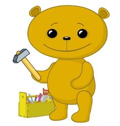 teddy bear worker vector image vector image