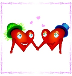 two heart lovers holding hands vector image vector image