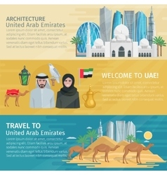 United arab emirates travel banners set vector