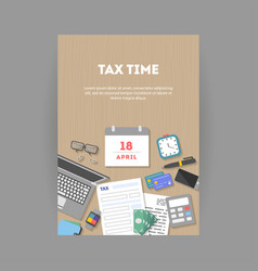 vertical banner with icons paying taxes vector image