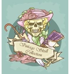 Victorian Era Skull Label vector image vector image
