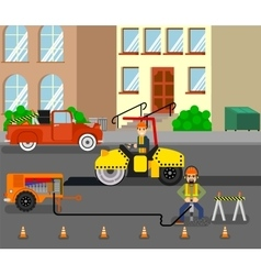 Workers repairing the road in working environment vector