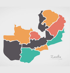 Zambia map with states and modern round shapes vector