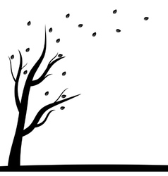 Silhouette of a tree and autumn leaves vector image