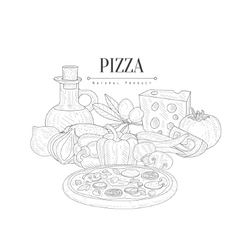 Pizza Cooking Ingredients Still Life Hand Drawn vector image