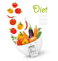 Fruit in a bowl with a nutritional labelconcept of vector