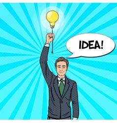 Pop Art Businessman with Lightbulb Idea vector image