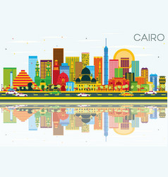 Cairo skyline with color buildings blue sky and vector
